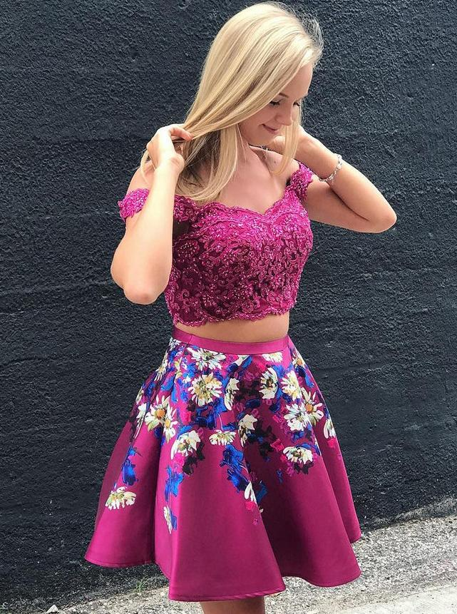Off Shoulder Lace Applique Two Piece Homecoming Dresses, Floral Print Short Prom Dress GM105