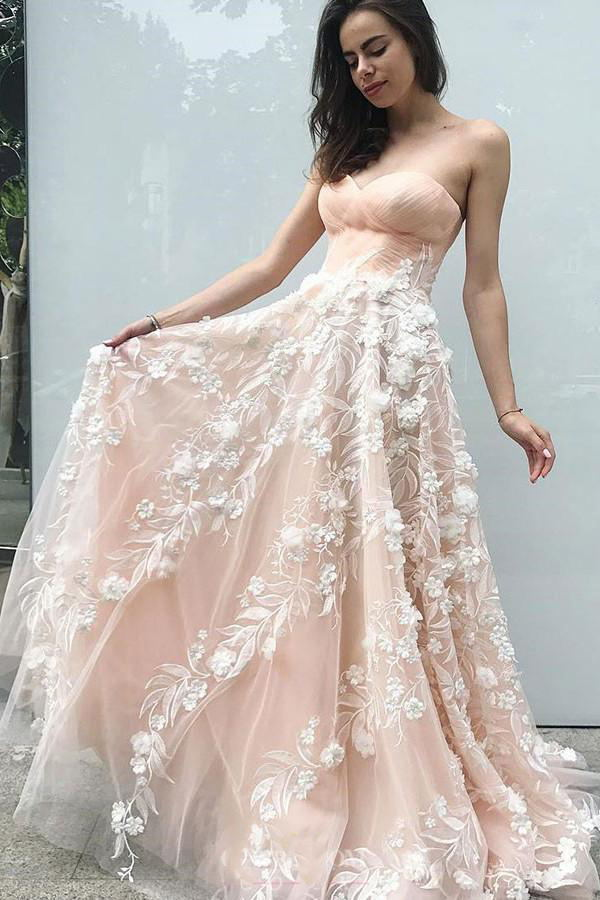 Elegant Sweetheart Blush Pink Tulle Long Prom Dresses with Appliques MP264