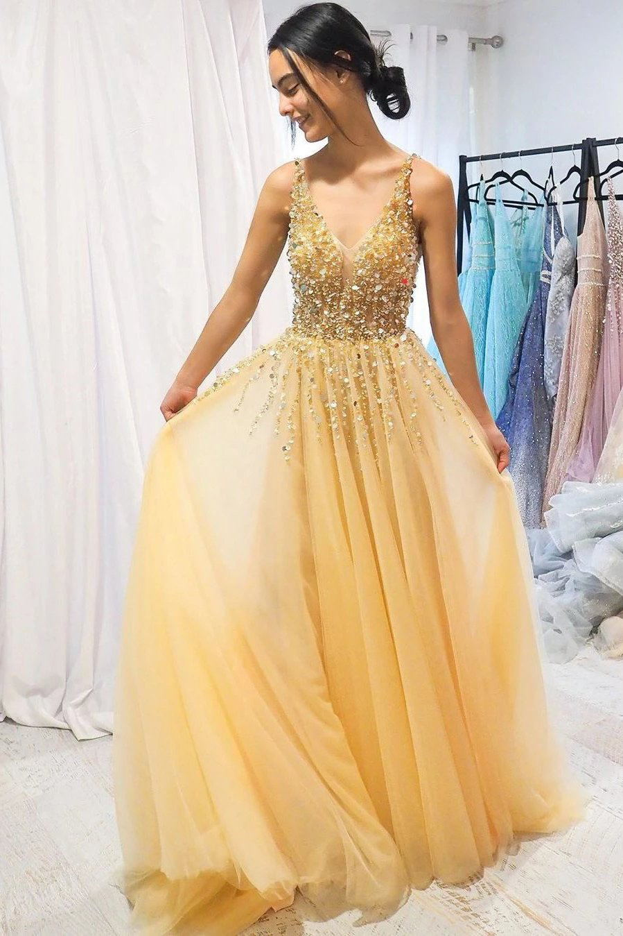 Yellow Sequin Beaded Long Prom Dress, Tulle V-neck Graduation Dress MP121