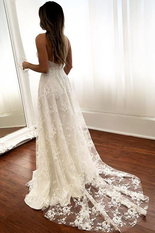 Lace Beach Wedding Dresses V-neck Backless Bridal Gown With Split PW158