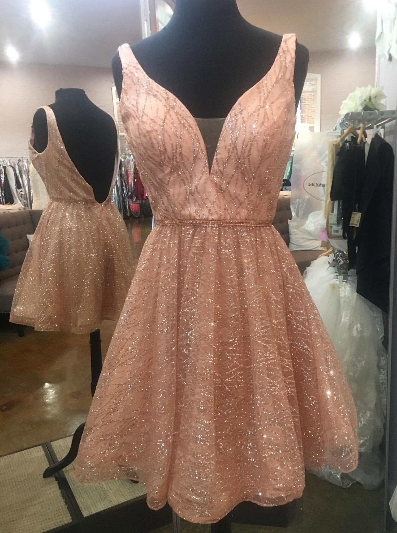 A-Line V-neck Backless Homecoming Dresses, Sequins Short Prom Dress GM75