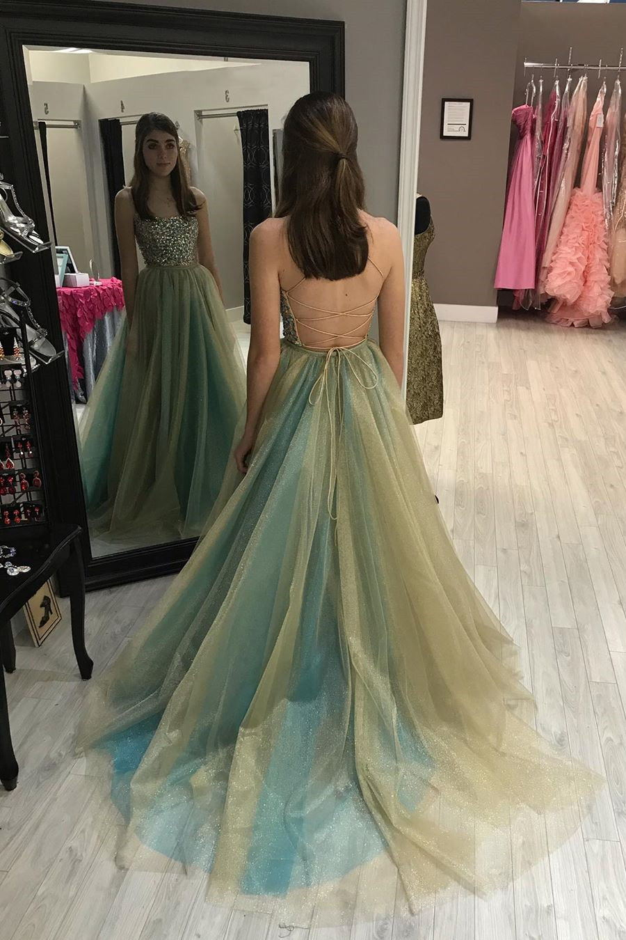Strapless Beading Bodice Long Prom Dress Tulle Spaghetti Backless Formal Gown GP72