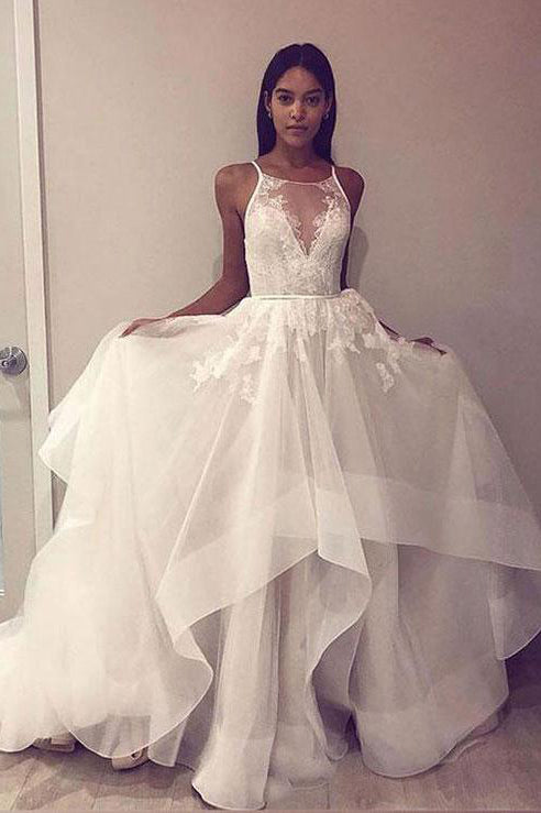 Round Neck Tulle Lace Long Prom Dress Open Back Wedding Dress PW273