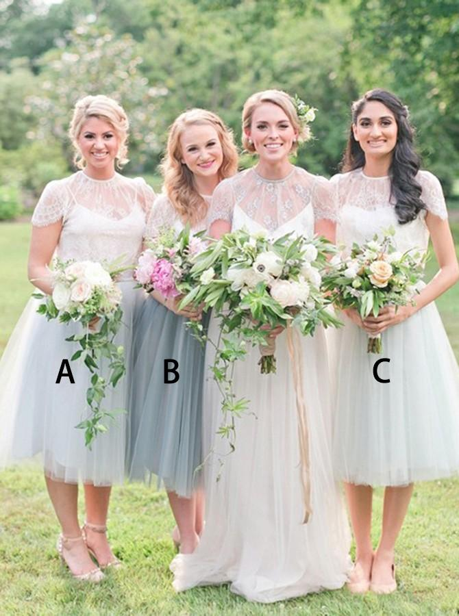 Jewel tea-length cap sleeves tulle bridesmaid dresses with lace gb375