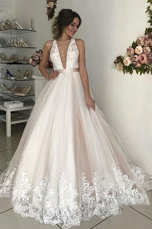 Deep v neck backless wedding dresses lace appliques bridal gown gw700