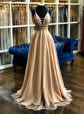 A-line v-neck tulle long prom dresses, pearl pink appliques formal evening dress mg250