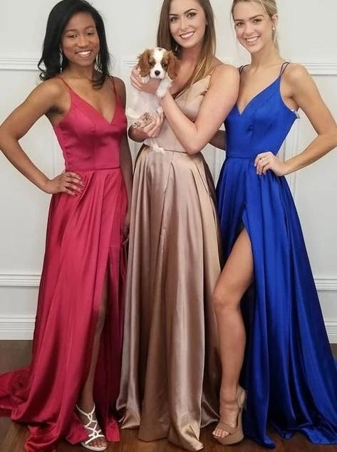 Simple Sleeveless Long Prom Dresses, A-line V-neck Party Dress With Split MP55