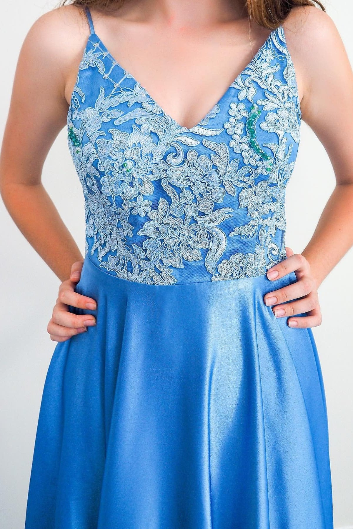 Ice Blue Backless Long Prom Dresses A-line Appliqued Formal Evening Dress MP79