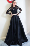 Two Piece Black Long Prom Dresses, Long Sleeves Formal Gowns MP81