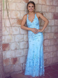 Mermaid Sky Blue Long Prom Dresses, V-neck Backless Long Evening Gowns MP83