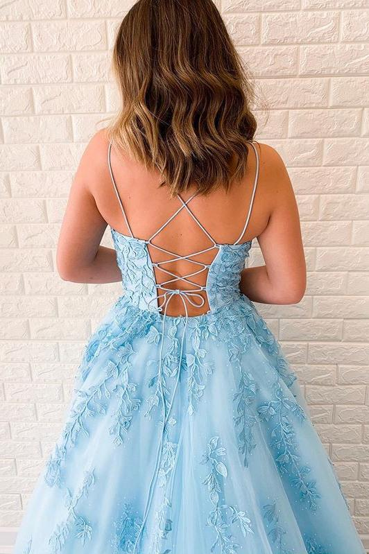 Spaghetti-straps Tulle Sky Blue Long Prom Dresses With Appliques MP75