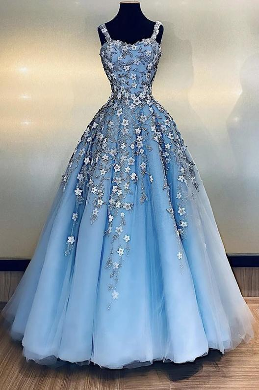 Light blue tulle applique long prom dress straps evening dress mg179