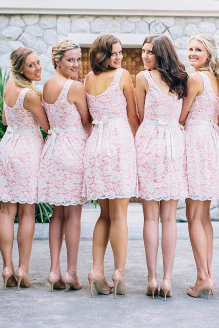 A-line crew pink short lace bridesmaid dresses with belt gb372