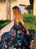 A line v neck tulle long prom dresses with embroidery floral appliques mg273