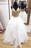 Lace appliques a line v-neck sleeveless tulle wedding dresses gw694