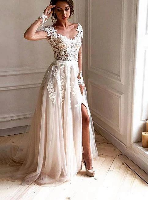 Sheer long sleeve lace appliques tulle wedding dresses beach with split mg690