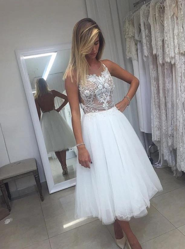 A-line short backless wedding dresses lace applique short bridal gown mg683
