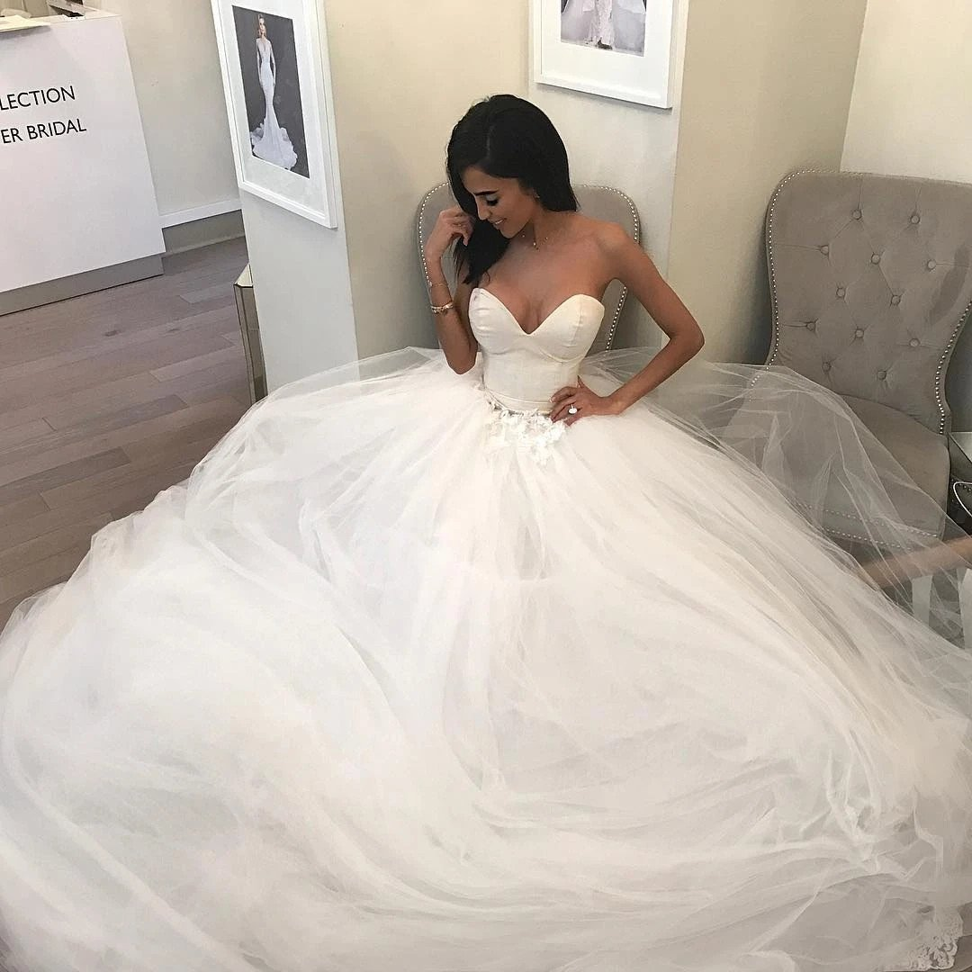 Sweetheart strapless tulle long ball gown wedding dresses mg681