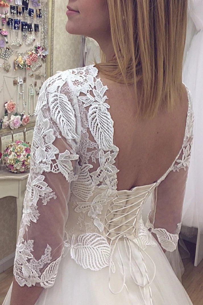 V neck lace appliques 3/4 sleeve open back wedding dresses mg679