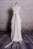 Princess v neck cap sleeve lace chiffon wedding dresses with ribbons mg680