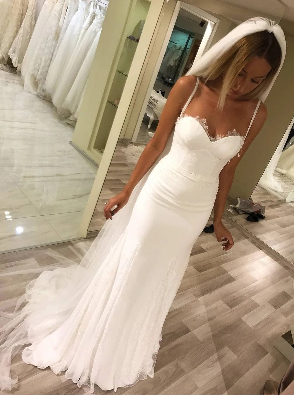 Spaghetti straps sweetheart sheath wedding dresses long bridal dresses mg682