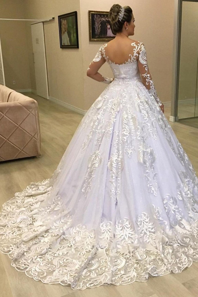 Princess Lace Appliques Ball Gown Long Sleeves Wedding Dresses PW15