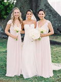 Cap sleeves v-neck chiffon long pearl pink bridesmaid dresses gb360