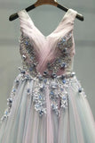 A-line v neck lace appliques ombre long prom formal dresses mg124
