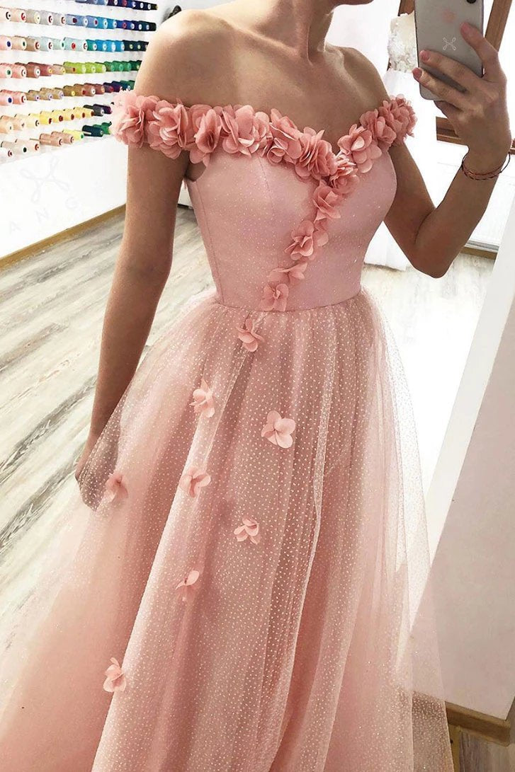 A-line 3D Appliqué Off Shoulder Tulle Glitter Long Prom Dresses MP154