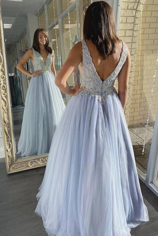 A-line v-neck tulle lace appliques long prom dresses formal dress mg18