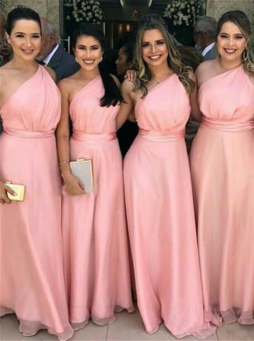 Simple one-shoulder pink chiffon long bridesmaid dresses gb367