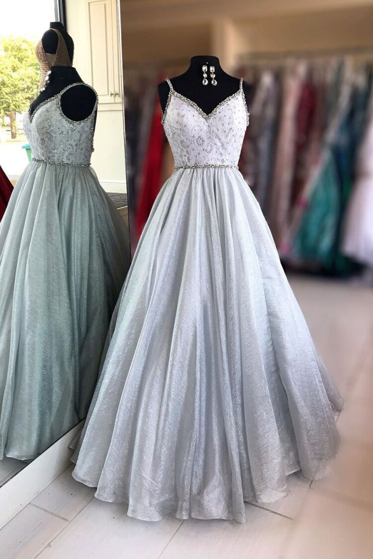 A-line v-neck beaded long prom dresses sleeveless formal gown mg117