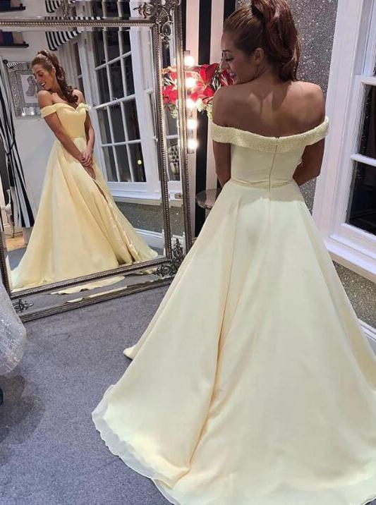 Elegant off shoulder a-line yellow long simple prom dress mg113