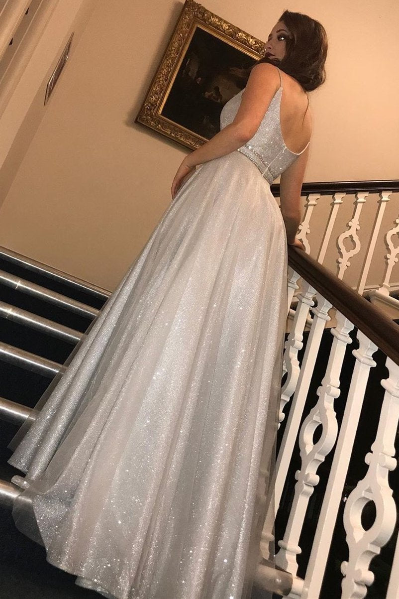 Glitter silver long prom dresses a-line v neck sequins formal dress mg115