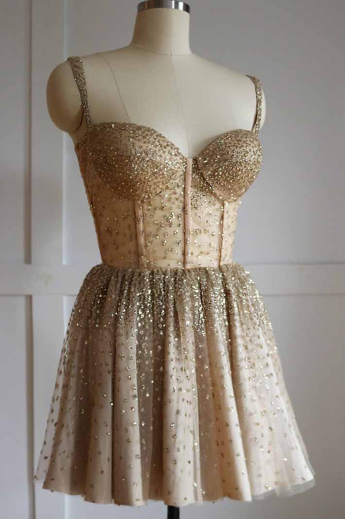 Sparkly Spaghetti Straps Gold Tulle Short Homecoming Dress With Beading GM193