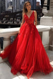 A-line v neck red lace long prom dresses, lace appliques formal dresses, mg30