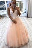 A-line V Neck Tulle Floor Length Prom Dress With Lace Appliques MP157