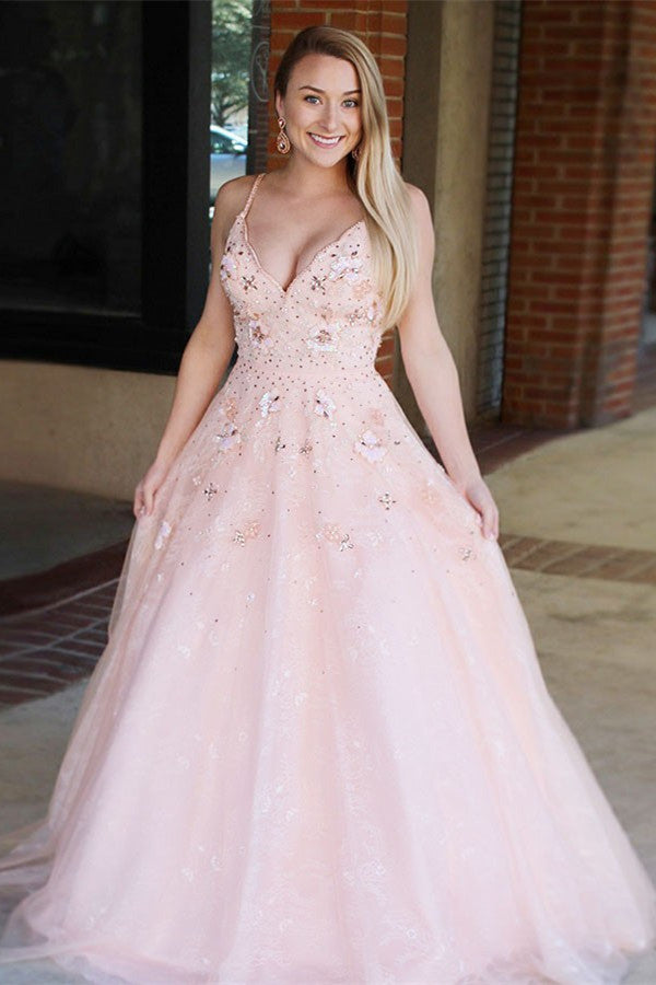 A-line V-neck Appliques Blush Long Prom Dress Tulle Backless Pageant Gown MP741