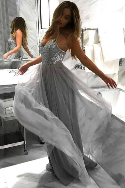 Spaghetti Straps V-neck Tulle Grey Long Prom Dresses With Sequins MP203