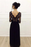 A-line lace long sleeves tulle floor length black prom dress mg148