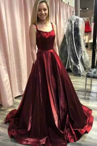 A-line burgundy prom dress with pockets, straps long formal gown mg292