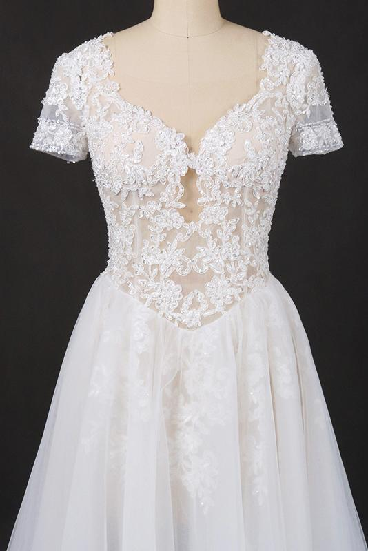 A-line Short Sleeves Lace Appliques Wedding Dress Keyhole Back Bridal Gown PW98
