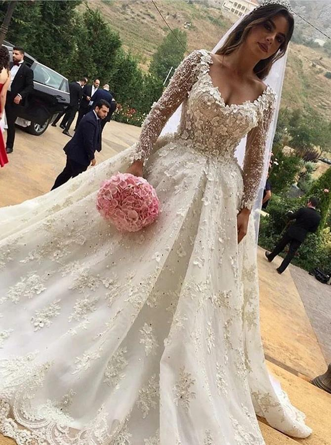 V-Neck Long Sleeves Ball Gown Wedding Dress with Appliques PW24