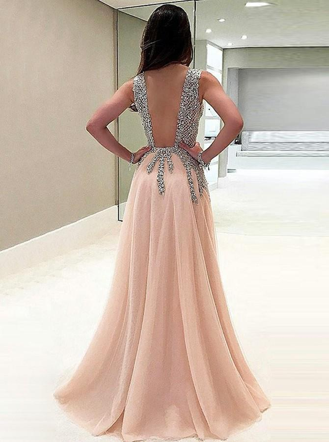 sexy a line v neck beads open back tulle slit prom dresses mp1017