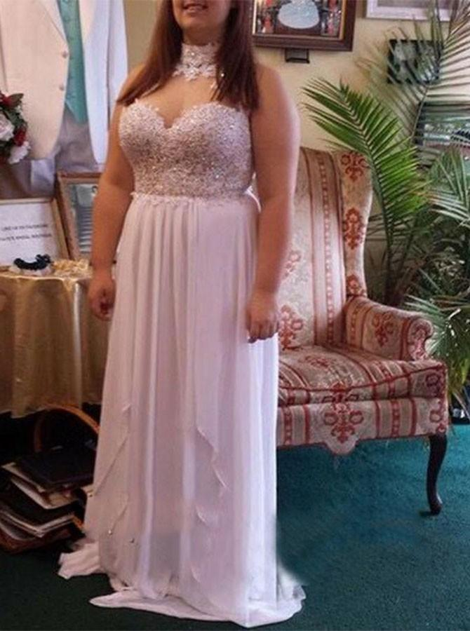 A-Line Halter Lace Beading Chiffon Plus Size Prom Dress MP1011