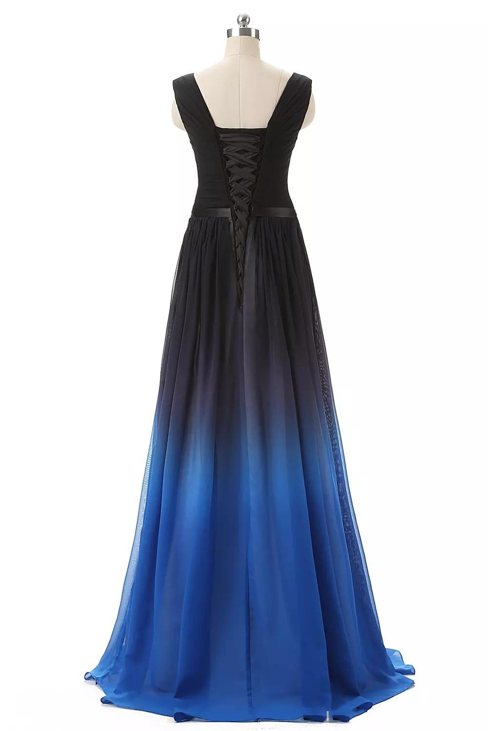 A Line Long Ombre Prom Dresses Chiffon Gradient Long Formal Gown MP36