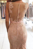 Charming illusion back lace appliques mermaid evening dresses prom party dresses mg107