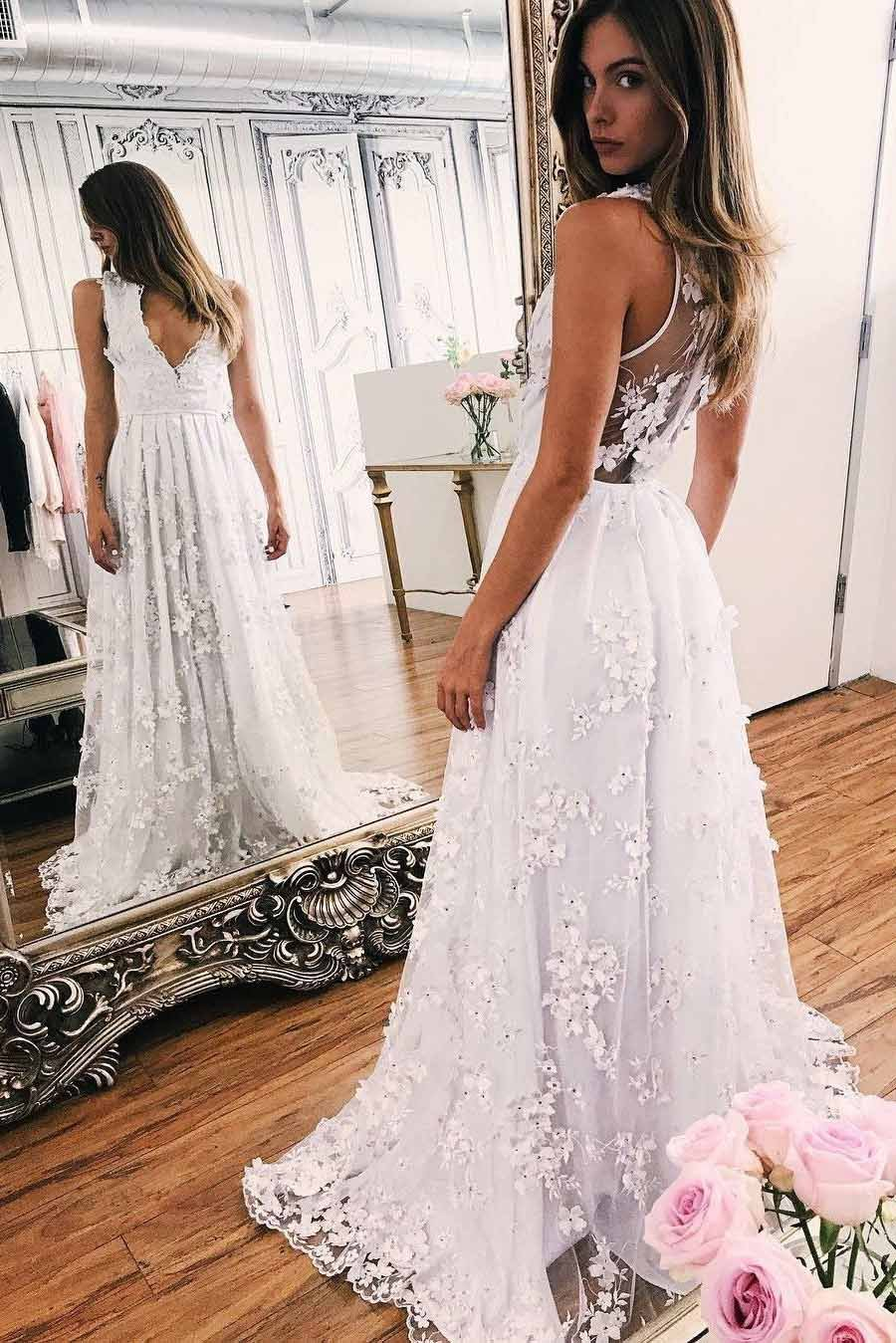 A-Line Illusion Back Boho Beach Wedding Dress with Appliques PW209