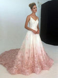 A-Line Spaghetti Straps Ombre Blush Lace Prom Wedding Dresses MP814