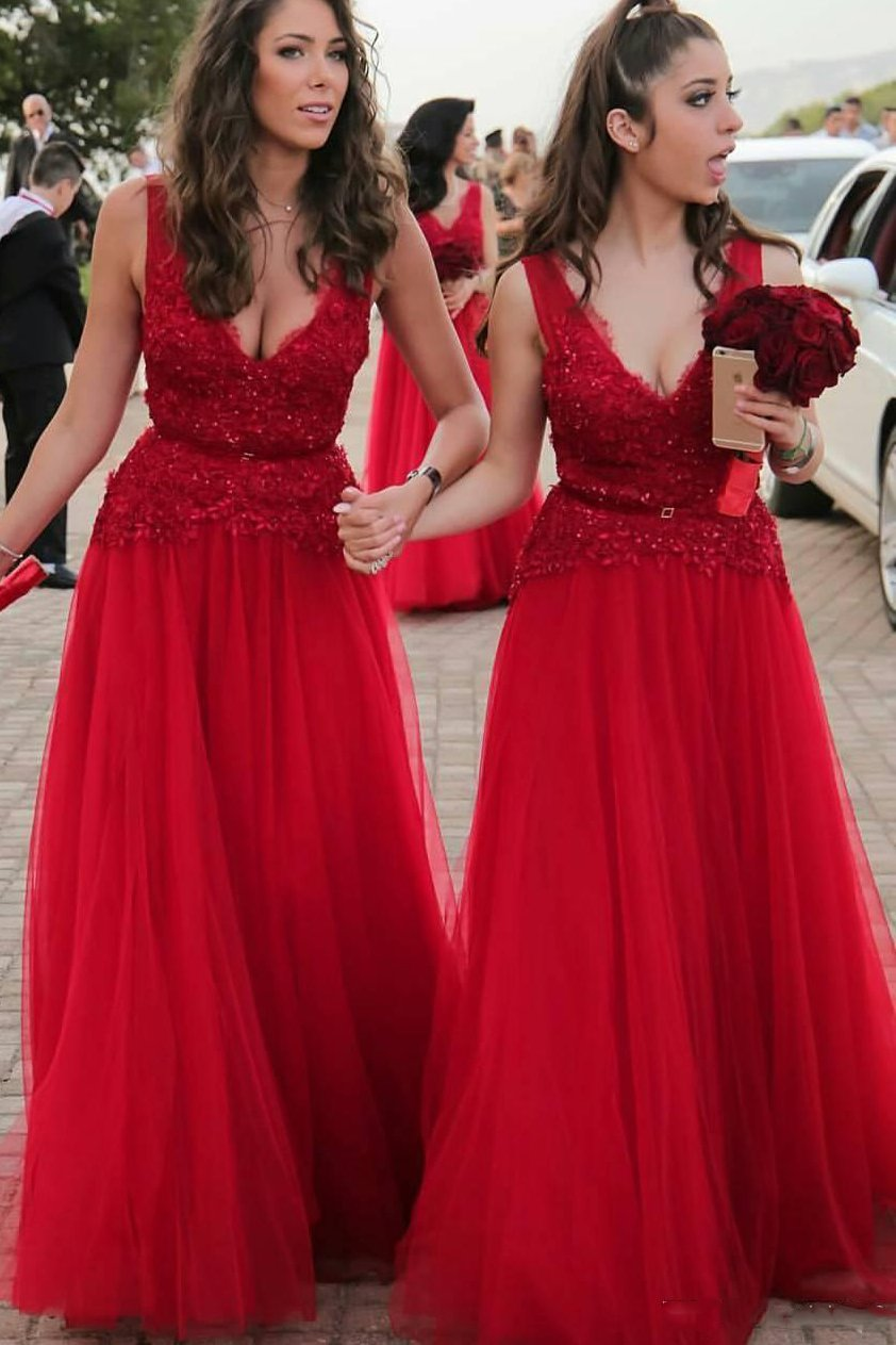 a line v neck appliques beading tulle red long bridesmaid dresses pb177
